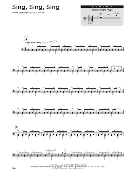 drum pattern for sing sing sing benny goodman sing sing sing sheet music