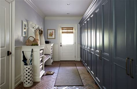 beadboard bench mudroom lockers entry traditional with basket storage beadboard bench seat brick entry