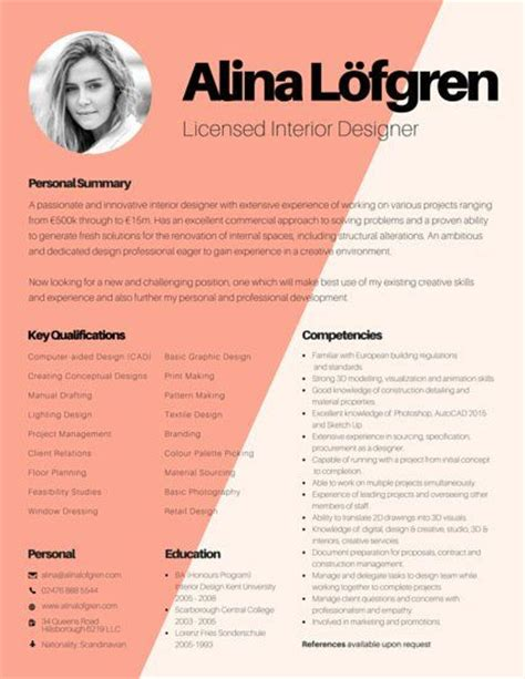 resume sles for interior designers 17 best images about canva remix templates on