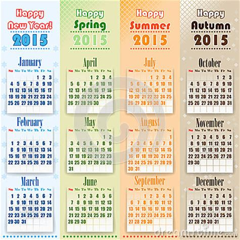 what week is new year 2015 colorful 2015 calendar on seasons stock vector image