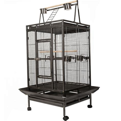 large bird cages black bird cage large play top parrot finch cage macaw cockatoo pet supplies ebay
