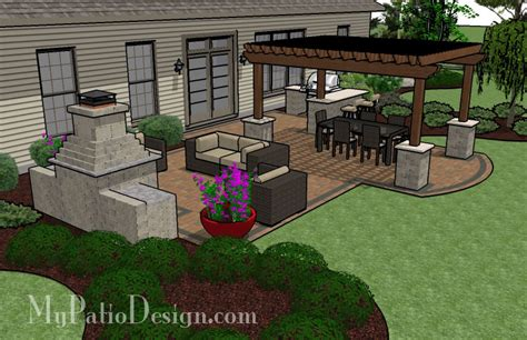 Backyard Layouts Ideas Large Unique Pergola Fireplace Patio Tinkerturf