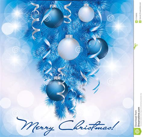 merry christmas banner  blue silver balls royalty  stock photo image