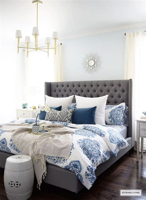 blue and white bedroom spring in full swing home tour 2017 master bedroom ideas 14613 | 44375ef50e26f1cbc2cb9dcdf4c7404a