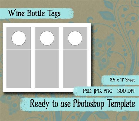 Scrapbook Digital Collage Photoshop Template 3 Quot X 7 1 2 Quot Wine Bottle Hang Tag From Pkdigitalart Bottle Tag Template
