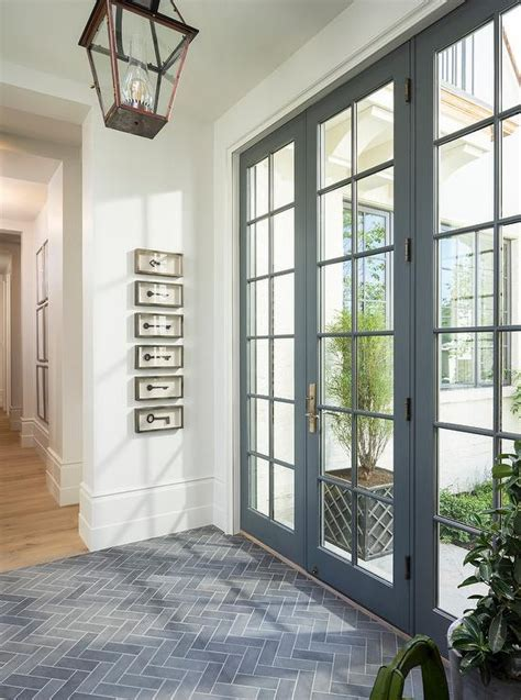 Front Entrance Tile Ideas Foyer With Gray Slate Herringbone Floor Tiles And Carriage