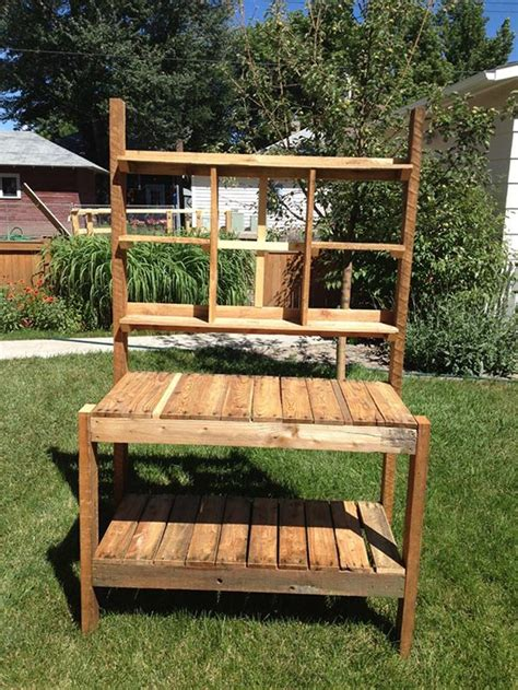 how to make a bench from pallets how to build a garden potting bench from pallets