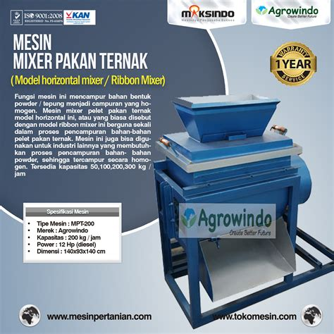 jual mesin mixer pakan ternak model horizontal mixer