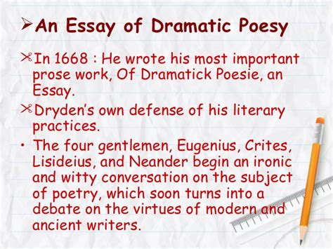 Dryden Essay Of Dramatic Poesy Text by Dryden S Comparative Criticism Of Ben Jonson