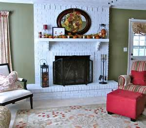 the modest homestead brick fireplace makeover and fall decor