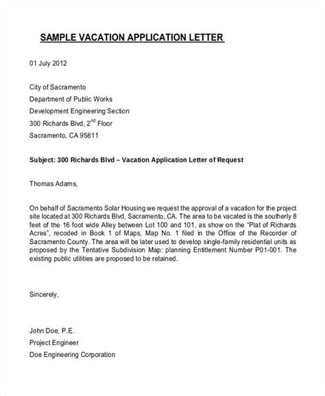 application letter vacation 95 best free application letter templates sles pdf