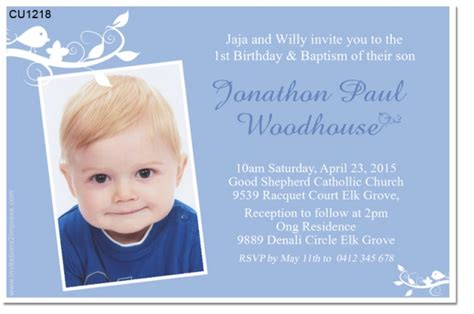 Cu1218 Boys 1st Birthday And Christening Invitation Boys Birthday Invitations Birthday 1st Birthday And Christening Invitation Templates