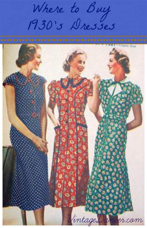 where to buy 1930s dresses clothing and patterns