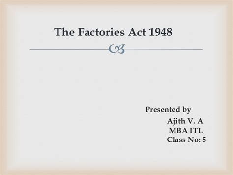 Factories Act 1948 Mba Notes factories act 1948
