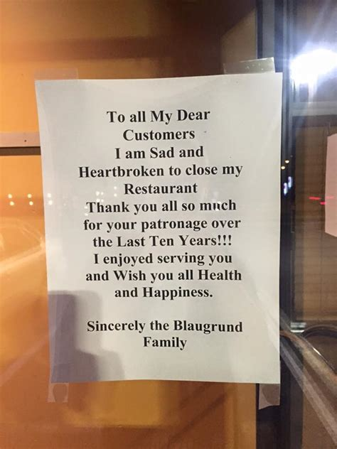 Closing Restaurant Letter To Customers Potomac Grill Closes In Rockville Photos Montgomery Community Media