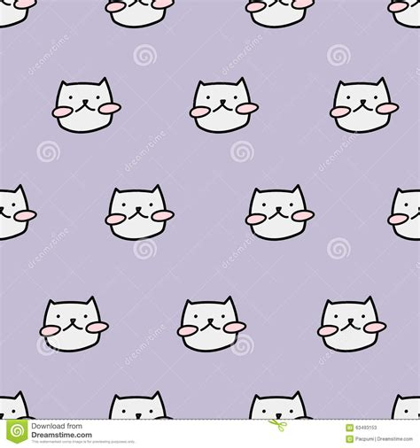 cute kitty pattern and tutorial seamless cute cat pattern stock illustration illustration