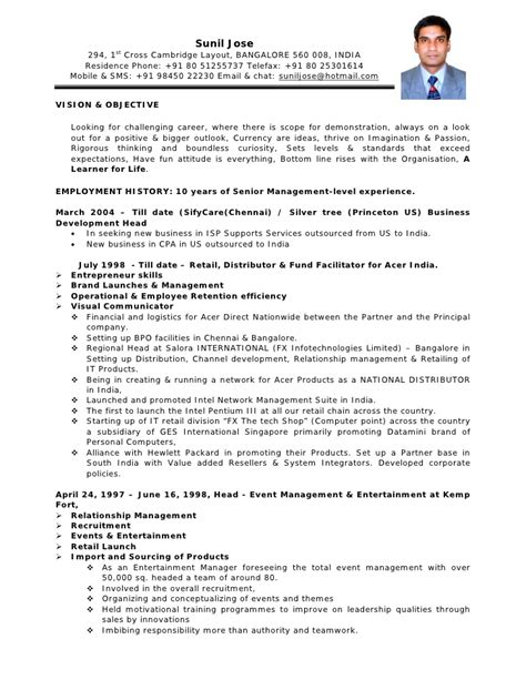Curriculum Vitae Sample Format Doc by Cv Format