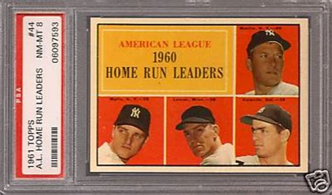 1961 topps american league 1960 home run leaders baseball card