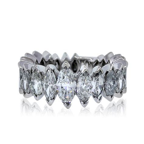 Eternity Band by Platinum Marquise Cut 4 Ctw Eternity Band Ring