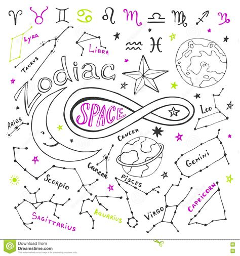 doodle zodiac zodiac signs vector collection with doodle