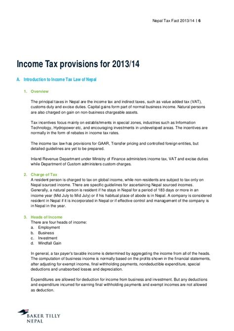 nepal income tax provisions for 2013