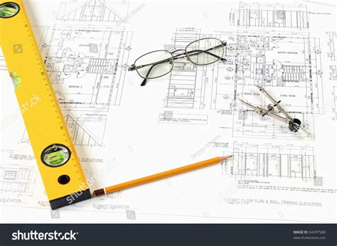 Drawings Building Homes Tools Stock Photo 64297588