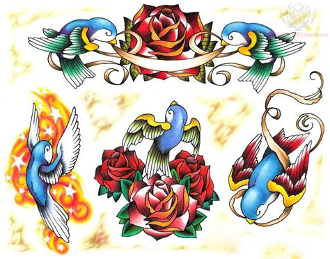 swallow and rose tattoo designs roses and design