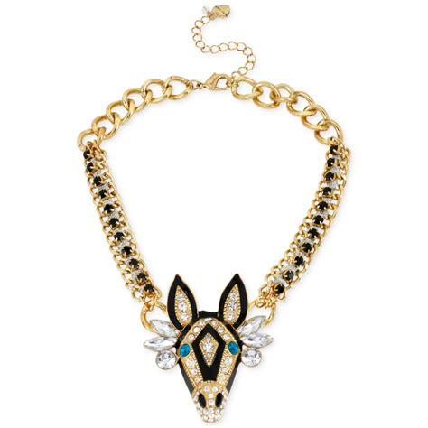 betsey johnson goldtone zebra frontal necklace in gold lyst