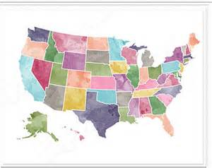 watercolor usa map usa map watercolor printable for instant in 8x10