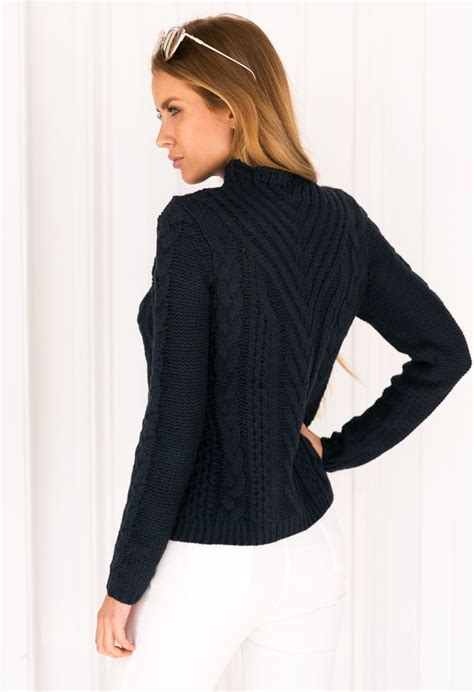 thick cable knit sweater navy thick cable knit crew sweater by xenia boutique