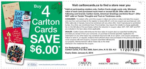 carlton cards canada coupons save 6 when you buy 4