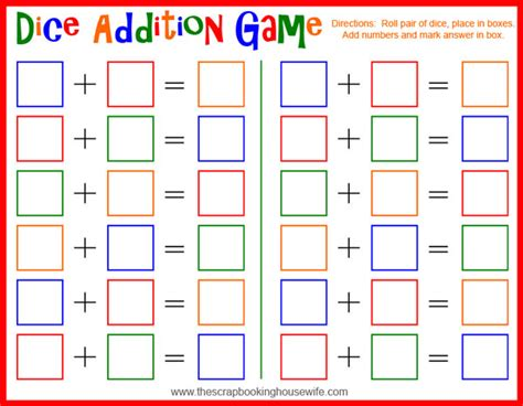 Printable Math Games With Dice | image gallery dice addition