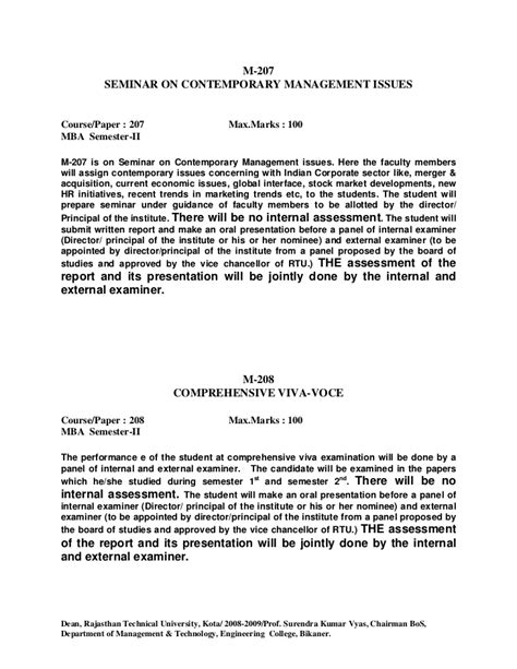 Rtu Mba Syllabus 2017 by Contemporary Management Lssues Student Essays