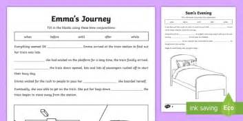 ks2 time conjunctions cloze differentiated activity sheets