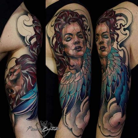neo traditional angel tattoo neo traditional style colored shoulder tattoo of angel