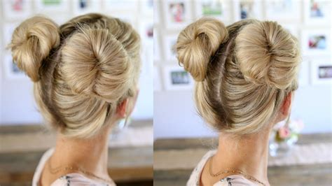 gymnastics hairstyles for long thin hair 3 easy double buns space buns for thin normal thick