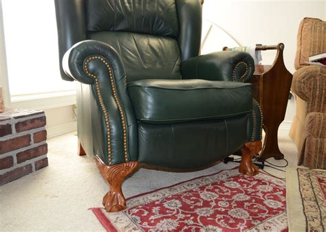 green lazy boy recliner lazy boy contemporary green leather recliner ebth
