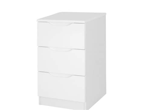 White Gloss Bedside Drawers by Trend 3 Drawer White High Gloss Bedside Chest