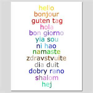how to say color in hello 8x10 typography print with hello in different by tessyla