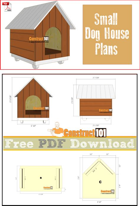 house plans free download small dog house plans pdf download construct101