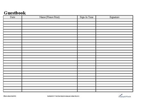 28 Images Of Guest Log Template Crazybiker Net Visitor Sign In Sheet Template