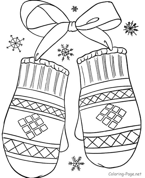 Winter Coloring Book Pages winter coloring book pages mittens