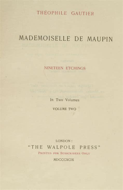 mademoiselle de maupin mademoiselle de maupin lucien broca th 233 ophile burnham gautier i g 201 douard