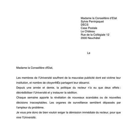 Modèles De Lettre De Démission Québec Lettre De D 233 Mission Suisse Application Letter