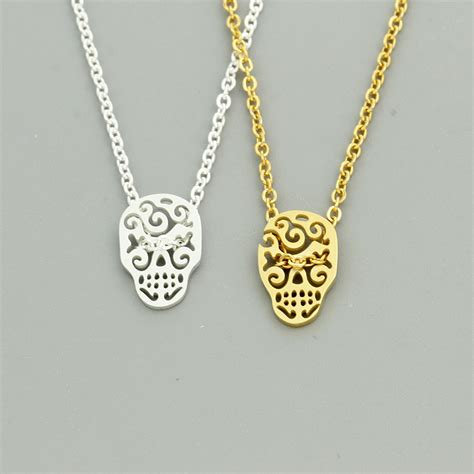 wholesale 10pcs lot easter jewelry boho sugar skull pendant necklace stainless steel gold silver
