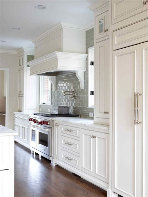 White Kitchen Cabinets With Glass White Gray Glaze Kitchen Island With Gray Marble Counter Top Combined With Cupboard Placed On