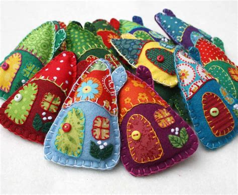 Handmade Felt - felt ornaments handmade felt houses colourful