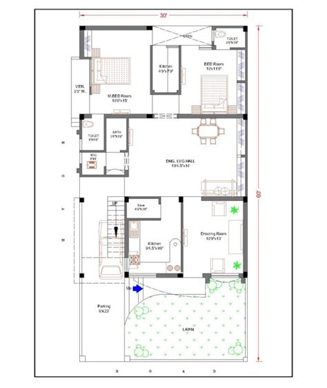 Home Design Plans 30 60 | 30 feet by 60 feet 30x60 house plan decorch