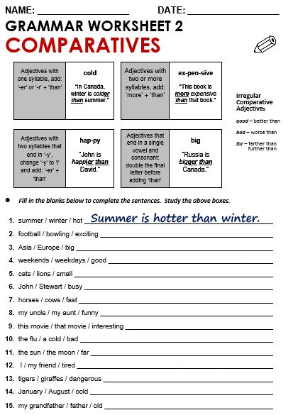 all worksheets 187 comparison of adjectives exercises