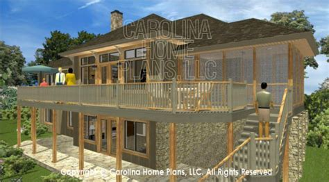 3d Images For Chp Lg 3096 Ga Large Hillside Ranch 3d House Plan Views